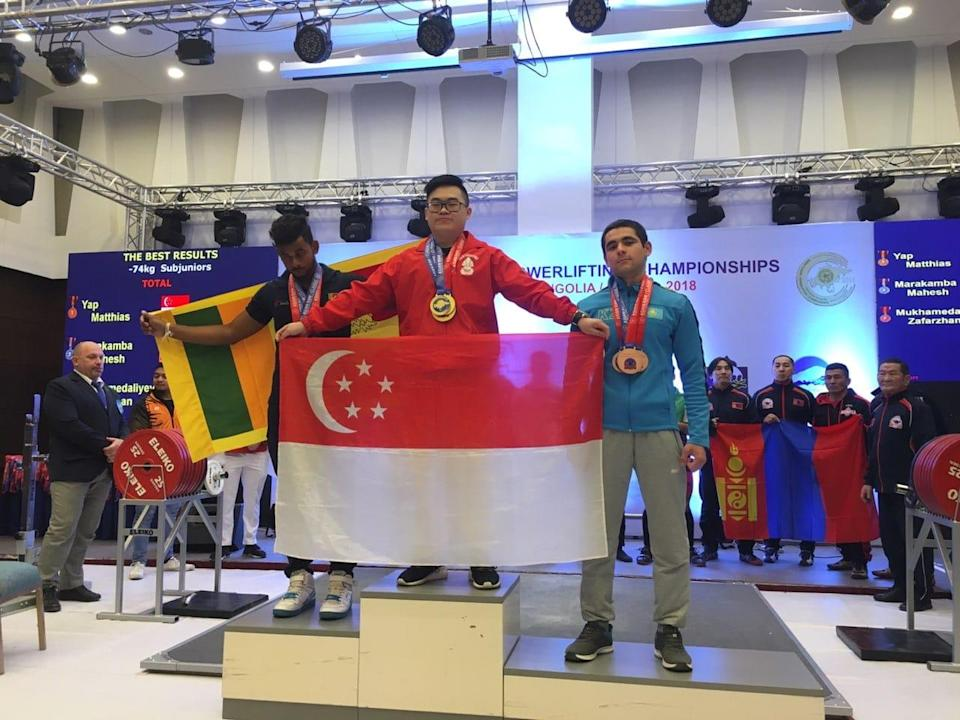 Singapore powerlifter Matthias Yap won four golds in the U-74kg sub-junior division at the Asian Classic Powerlifting Championships in Ulaan Baatar on 6 December, 2018. (PHOTO: Matthias Yap)