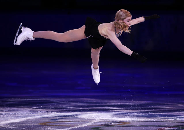 Gracie Gold of the United States performs during the figure skating exhibition gala at the Iceberg Skating Palace during the 2014 Winter Olympics, Saturday, Feb. 22, 2014, in Sochi, Russia. (AP Photo/Bernat Armangue)