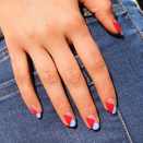 """<p>Up your nail art game this 4th of July with a simple geographic design in red, white, and blue. </p><p><a class=""""link rapid-noclick-resp"""" href=""""https://www.amazon.com/Mudder-Designs-Pieces-Stencils-Stickers/dp/B01MQZS91T/?tag=syn-yahoo-20&ascsubtag=%5Bartid%7C10055.g.1278%5Bsrc%7Cyahoo-us"""" rel=""""nofollow noopener"""" target=""""_blank"""" data-ylk=""""slk:SHOP NAIL STENCILS"""">SHOP NAIL STENCILS</a></p>"""