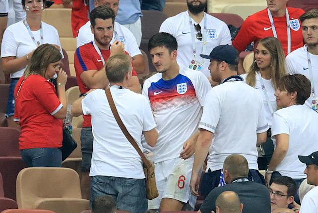 <p>Harry Maguire had lots of support from his pals. </p>