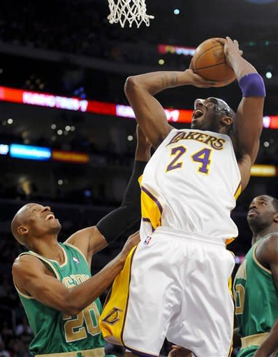 Los Angeles Lakers guard Kobe Bryant (24) shoots over Boston Celtics guard Ray Allen (20) in the first half of an NBA basketball game, Sunday, March 11, 2012, in Los Angeles. (AP Photo/Gus Ruelas)