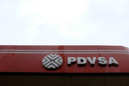 The corporate logo of the Venezuelan state-owned oil company PDVSA is seen at a gas station in Caracas, Venezuela September 24, 2018. REUTERS/Marco Bello