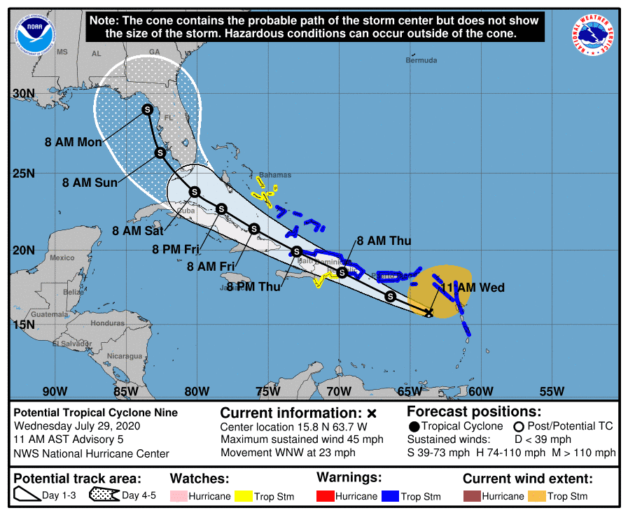 The projected path of what's expected to become Tropical Storm Isaias.