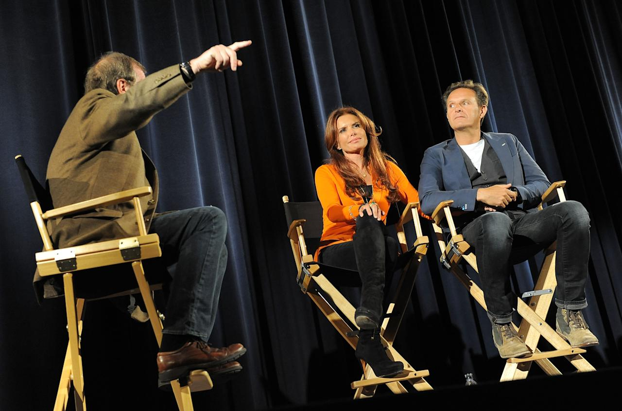 LOS ANGELES, CA - JUNE 12: Pete Hammond, executive producers Roma Downey and Mark Burnett attend a special event for History's 'The Bible' at Harmony Gold Theatre on June 12, 2013 in Los Angeles, California. (Photo by Angela Weiss/Getty Images for History)