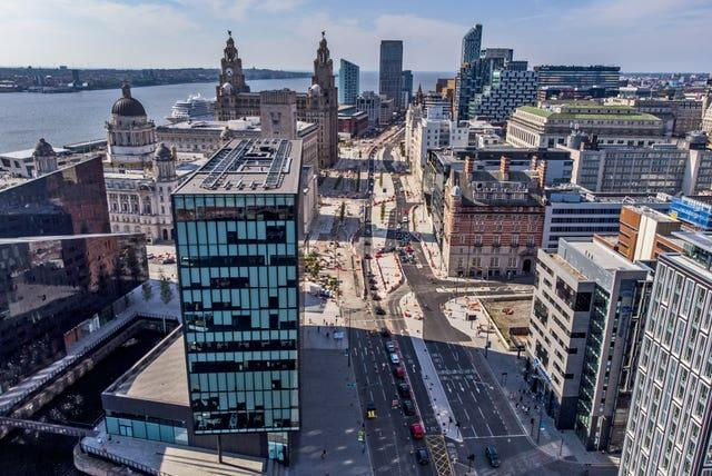 A aerial view of the Strand in Liverpool (Peter Byrne/PA)