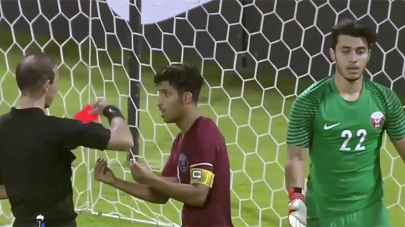 Qatar's keeper was given his marching orders. Pic: Twitter