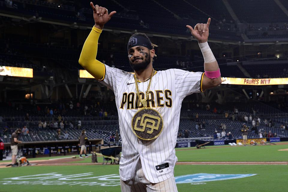 Tatis celebrates after a win against the Mets.