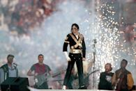 Michael Jackson performs during halftime of a 52-17 Dallas Cowboys win over the Buffalo Bills in Super Bowl XXVII on January 31, 1993 at Rose Bowl in Pasadena California. (Getty Images)