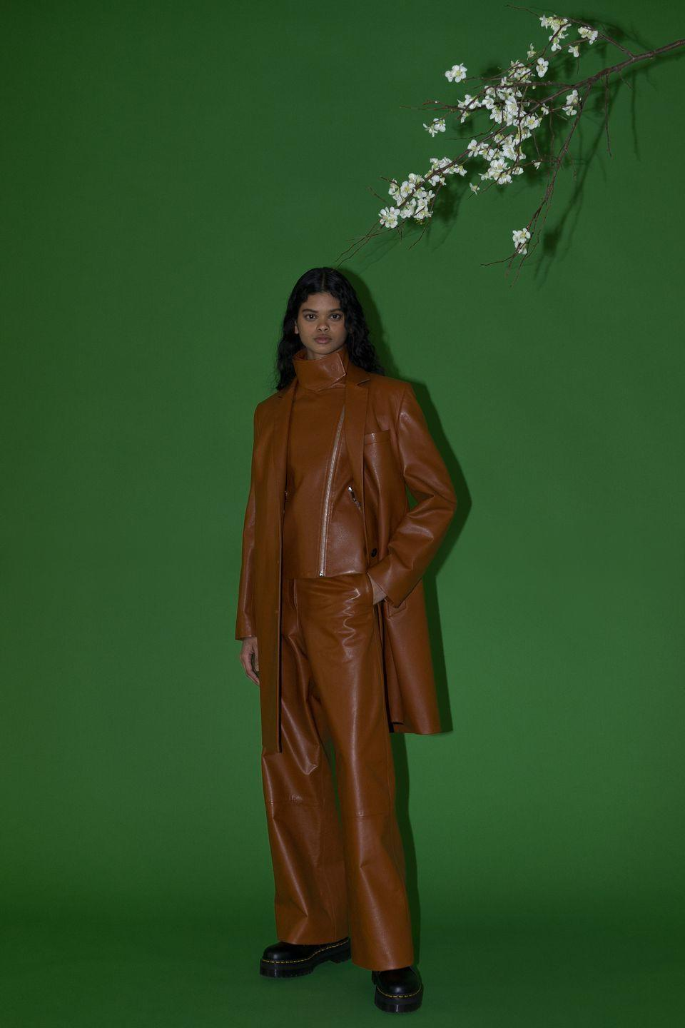 <p>Rossetta Getty collaborated once again with the artist Bernadette Van-Huy, who shot the new collection against a green screen. Embracing a sophisticated take on Nineties dressing, the designs featured plenty of leather layering, slip dresses teamed with chunky, lace-up boots and more than a few incredibly covetable coats. Shunning overly casual loungewear but also avoiding full-on party pieces, the collection was a great signal for how we should all be dressing come next autumn.</p>