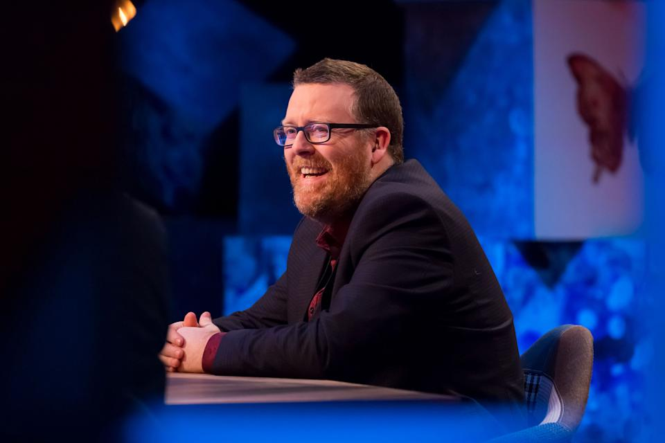 Ricky Gervais was challenged by Frankie Boyle, seen on his TV show, Frankie Boyle's New World Order