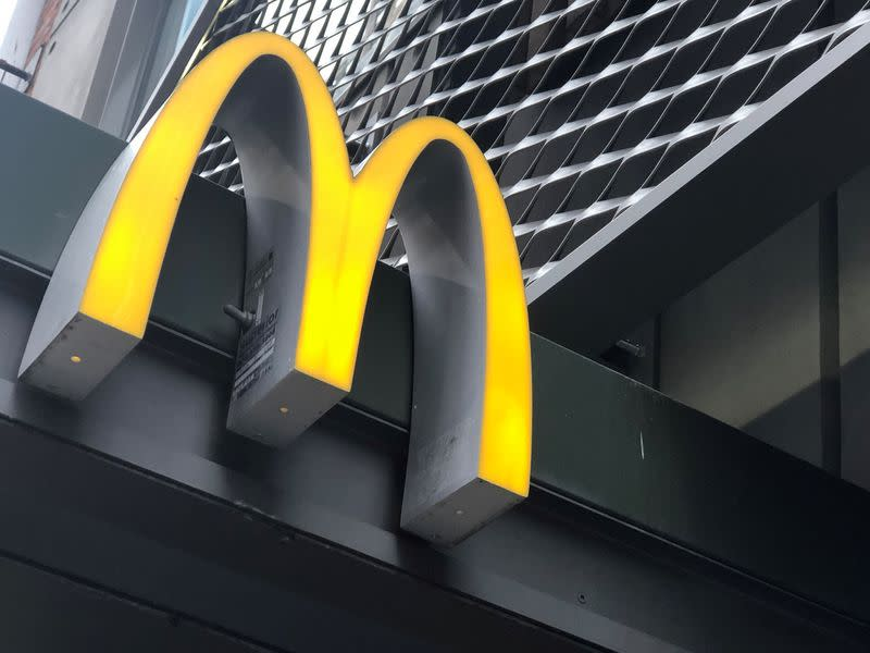 The McDonald's logo is seen outside the fast-food chain McDonald's in New York