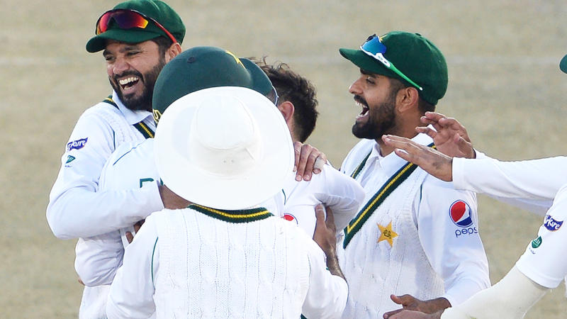 Pakistan players, pictured here celebrating Naseem Shah's hat-trick against Bangladesh.