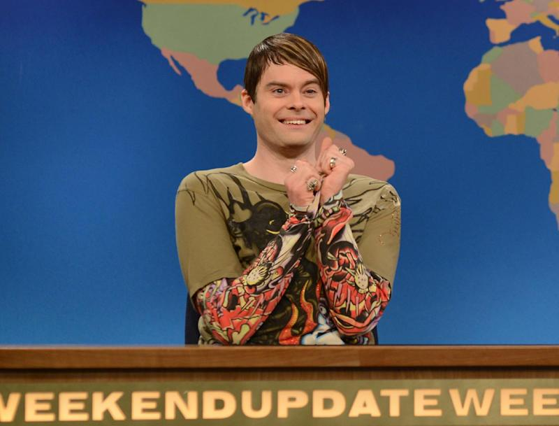 "Ths March 9, 2013 photo released by NBC shows Bill Hader in character as Stefon on ""Saturday Night Live,"" in New York.  Hader is leaving ""Saturday Night Live"" after an eight-year run. His spokesman confirms the 34-year-old comedian will depart ""SNL"" after this weekend's season finale. (AP Photo/NBC, Dana Edelson)"