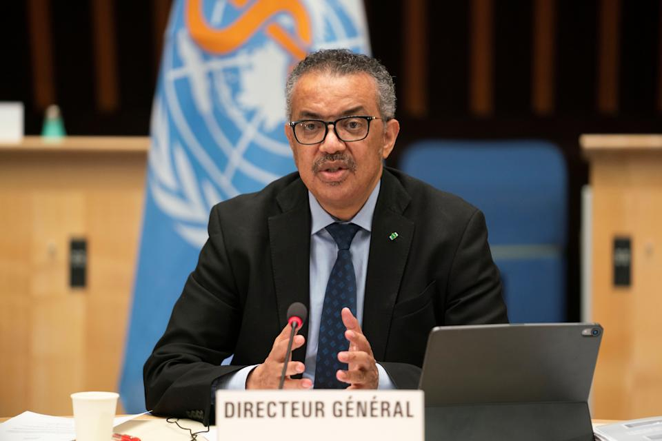 Tedros Adhanom Ghebreyesus, Director General of the World Health Organization (WHO) speaks after Dr. Anthony Fauci, director of the National Institute of Allergy and Infectious Diseases during the 148th session of the Executive Board on the coronavirus disease (COVID-19) outbreak in Geneva, Switzerland, January 21, 2021.  Christopher Black/WHO/Handout via REUTERS THIS IMAGE HAS BEEN SUPPLIED BY A THIRD PARTY