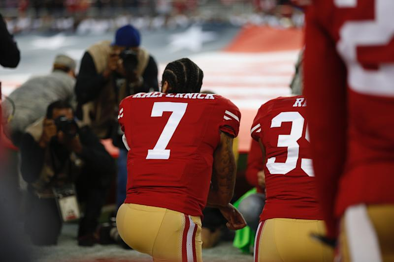 SANTA CLARA, CA - SEPTEMBER 12:San Francisco 49ers quarterback Colin Kaepernick (7) kneels during the National Anthem before their game against the Los Angeles Rams for their NFL game at Levi's Stadium in Santa Clara, Calif., on Monday, Sept. 12, 2016. (Photo by Nhat V. Meyer/MediaNews Group/The Mercury News via Getty Images)