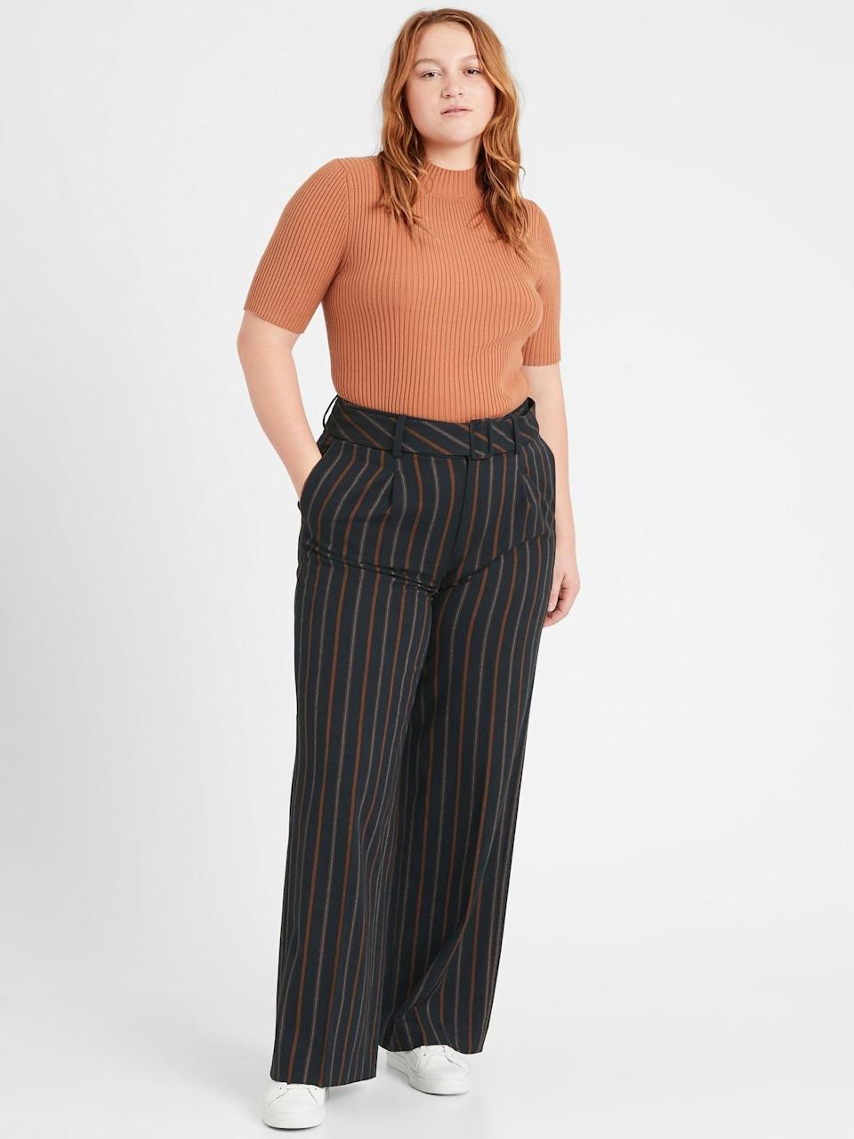 <p>We love the banker inspired pin stripes of these <span>Banana Republic High-Rise Slim Wide-Leg Pant</span> ($72, originally $119).</p>