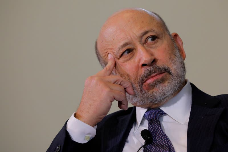 FILE PHOTO: Blankfein, CEO of Goldman Sachs, listens to a question at the Boston College Chief Executives Club luncheon in Boston