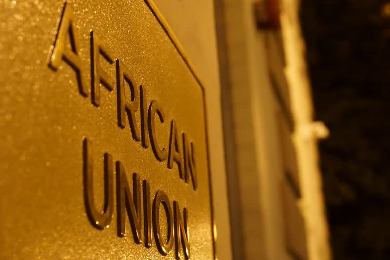 A signage at an entrance to the African Union (AU) Mission in Washington