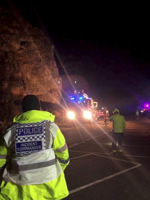 The pair were handed fines for non-essential travel after they were brought down from Cheddar Gorge in Somerset on Sunday. (SWNS)