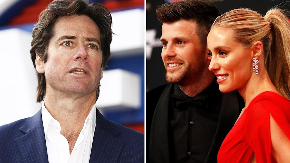 Seen here, AFL CEO Gillon McLachlan, as well as Trent and Brooke Cotchin.