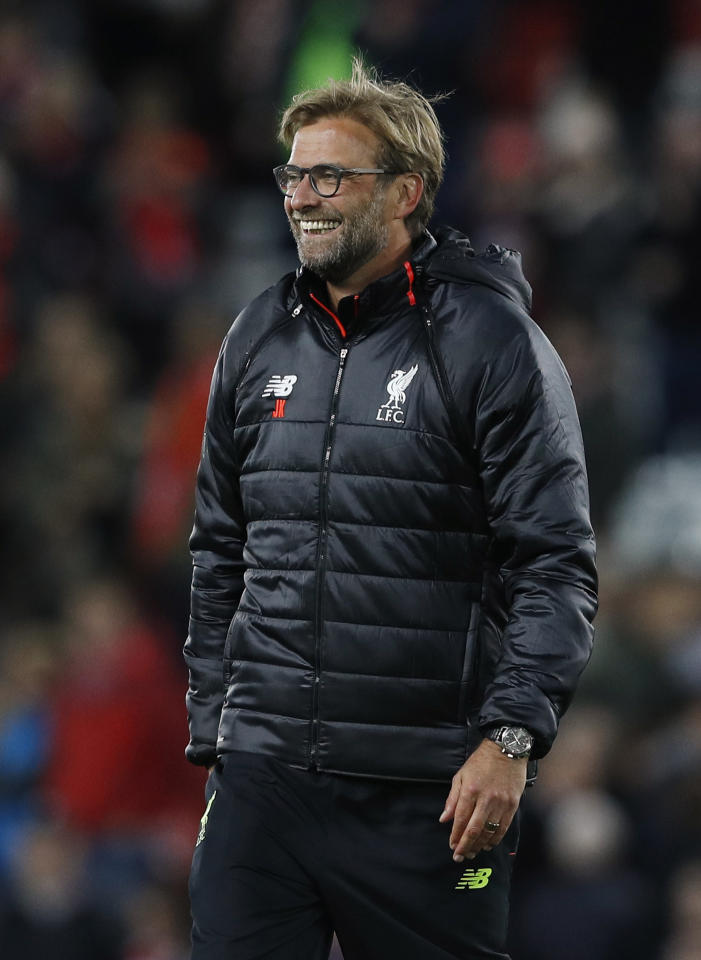 "Britain Soccer Football - Liverpool v West Bromwich Albion - Premier League - Anfield - 22/10/16 Liverpool manager Juergen Klopp celebrates after the game  Reuters / Phil Noble Livepic EDITORIAL USE ONLY. No use with unauthorized audio, video, data, fixture lists, club/league logos or ""live"" services. Online in-match use limited to 45 images, no video emulation. No use in betting, games or single club/league/player publications.  Please contact your account representative for further details."