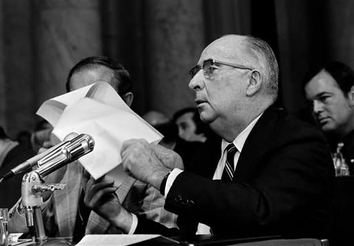 Senator Herman E. Talmadge, D-Ga., left, questions former Attorney General John Mitchell July 10, 1973 before the Senate Watergate Committee in Washington. (AP Photo)