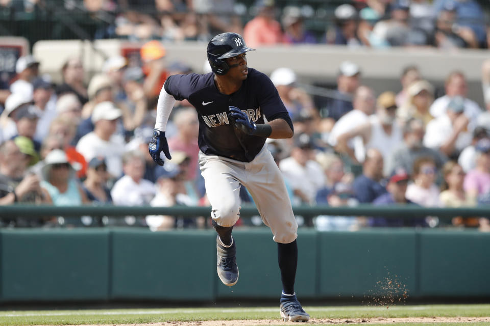 New York Yankees' Rosell Herrera leads off third during a spring training baseball game against the Detroit Tigers, Thursday, March 5, 2020, in Lakeland, Fla. (AP Photo/Carlos Osorio)