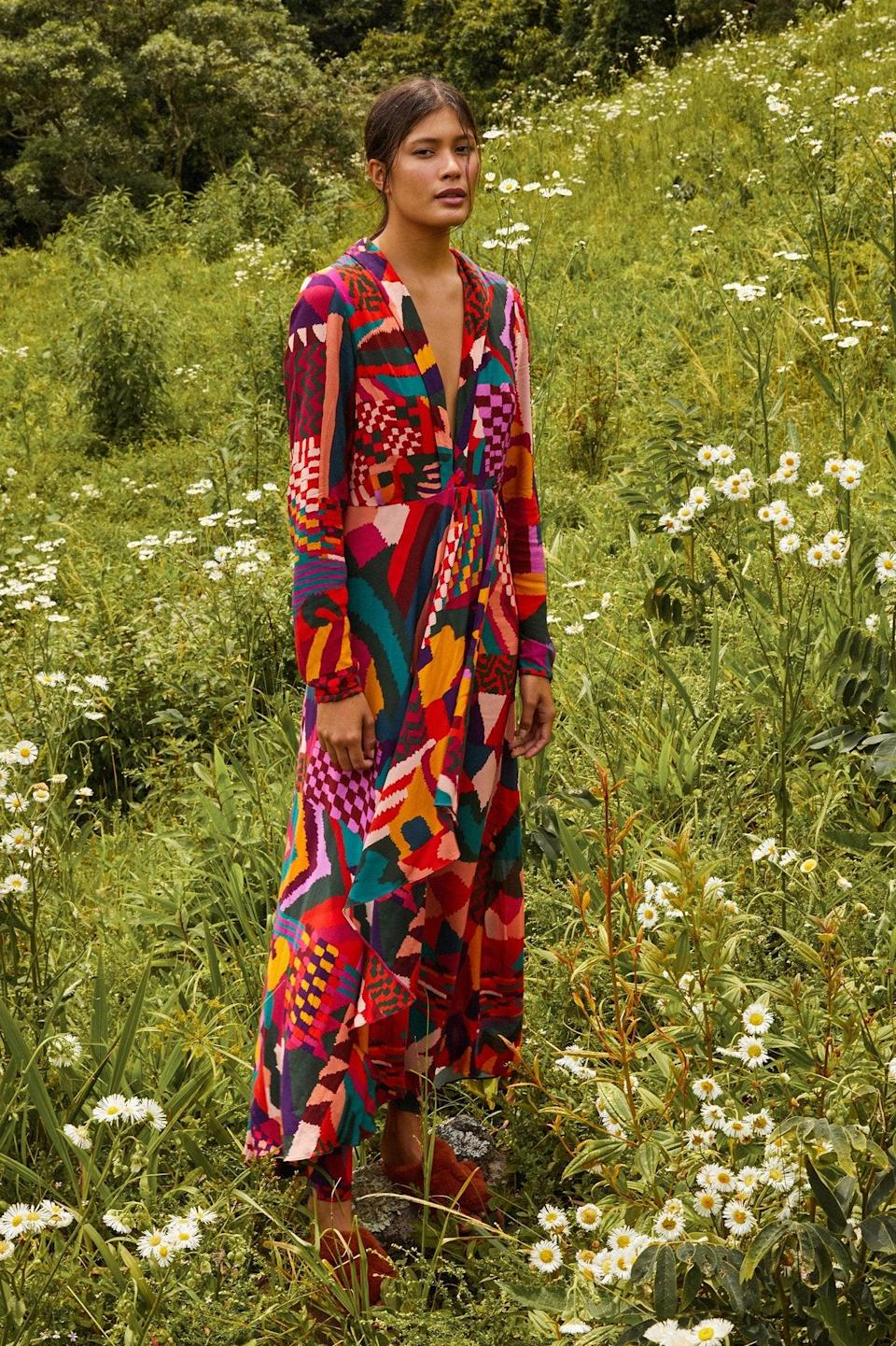 """<h2>Fall Wedding-Guest Maxi Dresses</h2><br>Modest? Sure. But, these elegant long-sleeve maxi dresses are anything but frumpy. <br><br><strong>Farm Rio</strong> red abstract patches maxi dress, $, available at <a href=""""https://go.skimresources.com/?id=30283X879131&url=https%3A%2F%2Fwww.farmrio.com%2Fcollections%2Fdresses%2Fproducts%2Fred-abstract-patches-maxi-dress"""" rel=""""nofollow noopener"""" target=""""_blank"""" data-ylk=""""slk:Farm Rio"""" class=""""link rapid-noclick-resp"""">Farm Rio</a>"""