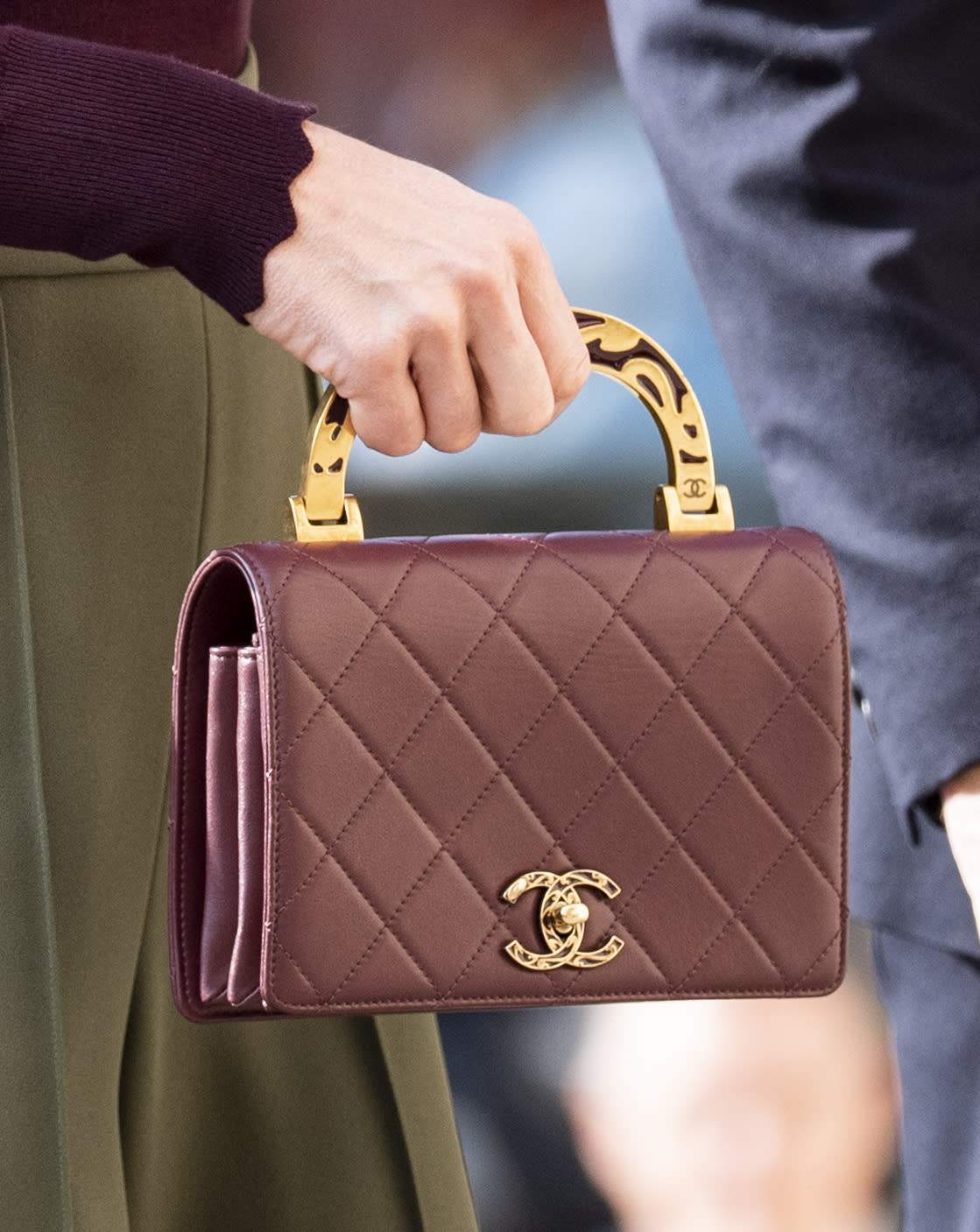 A close-up of the Duchess of Cambridge's Chanel bag [Photo: Getty]