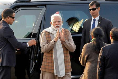 Narendra Modi arrives to attend the Beating the Retreat ceremony in New Delhi