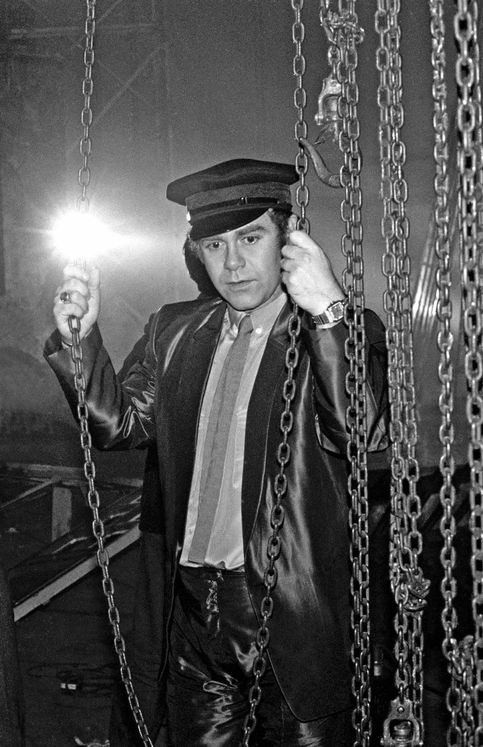 <p>Elton John in an all-leather look at Shepperton Studios near London in 1981, during the filming for a videogram for his album <em>The Fox</em>. (Photo: Getty Images) </p>