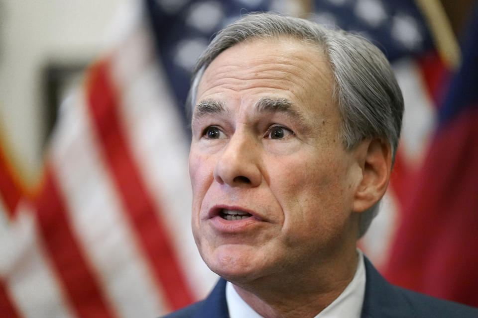 FILE - In this Tuesday, June 8, 2021, file photo, Texas Gov. Greg Abbott speaks at a news conference in Austin, Texas. Abbott, who faces a contested reelection primary next year, is pushing looser gun laws than he ever previously embraced and proposing unprecedented state actions, including promises to build more walls on the Mexican border. Similar scenes are playing out in campaigns in other red states including Arkansas and Idaho, where ultra right-wing challengers are tapping into anger among Republicans over Trump's election loss and coronavirus-related lockdowns. (AP Photo/Eric Gay, File)