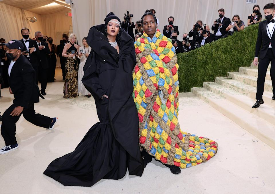Rihanna and A$AP Rocky attend The 2021 Met Gala Celebrating In America: A Lexicon Of Fashion at Metropolitan Museum of Art on September 13, 2021, in New York City.