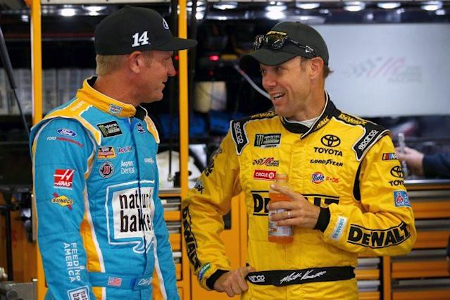 "<a class=""link rapid-noclick-resp"" href=""/nascar/sprint/drivers/81/"" data-ylk=""slk:Matt Kenseth"">Matt Kenseth</a> (R) and <a class=""link rapid-noclick-resp"" href=""/nascar/sprint/drivers/1119/"" data-ylk=""slk:Clint Bowyer"">Clint Bowyer</a> (L) are currently the last two drivers in the playoffs on points. (Getty)"