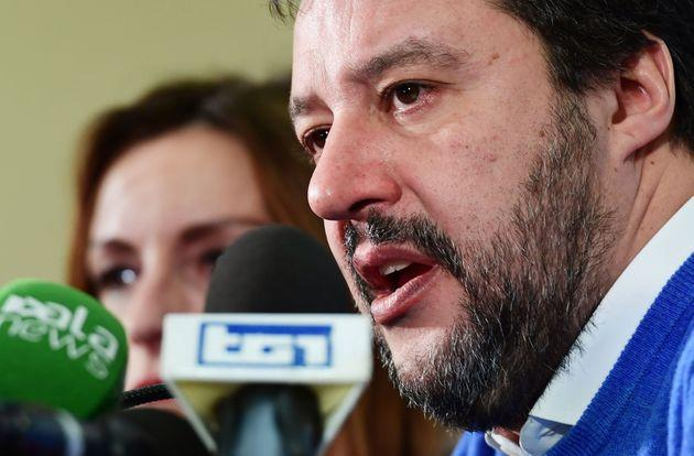 Leader of Italy's far-right League (Lega) party, Matteo Salvini addresses a press conference with centre-right Senator and regional candidate Lucia Borgonzoni (Rear) on January , 2020 in Bologna, a day after a regional vote in Emilia-Romagna. - Italy's populist leader Matteo Salvini failed to win a key regional election and topple the country's fragile coalition government, official results showed on January 27, 2020. (Photo by Miguel MEDINA / AFP) (Photo by MIGUEL MEDINA/AFP via Getty Images)