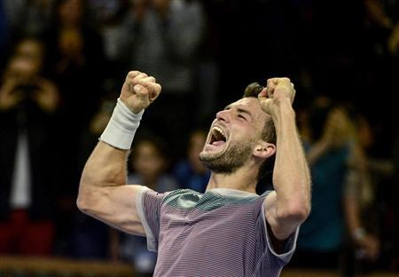 Grigor Dimitrov reacts after winning the ATP Stockholm Open tennis tournament men's single final match against David Ferrer