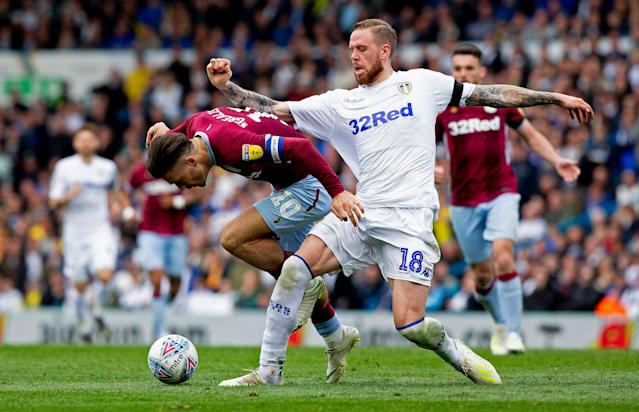 LEEDS, ENGLAND - APRIL 28: Jack Grealish of Aston Villa in action during the Sky Bet Championship match between Leeds United and Aston Villa at Elland Road on April 28, 2019 in Leeds, England. (Photo by Neville Williams/Aston Villa FC via Getty Images)