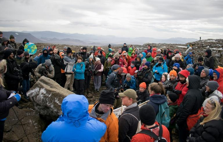 A monument was unveiled at the site of Okjokull, Iceland's first glacier lost to climate change (AFP Photo/Jeremie RICHARD)