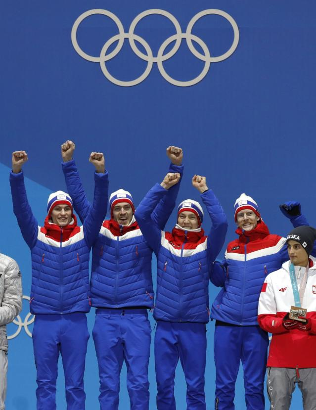 Medals Ceremony - Ski Jumping - Pyeongchang 2018 Winter Olympics - Men's Team - Medals Plaza - Pyeongchang, South Korea - February 20, 2018 - Gold medalists Daniel Andre Tande, Andreas Stjernen, Johann Andre Forfang and Robert Johansson of Norway on the podium. REUTERS/Eric Gaillard