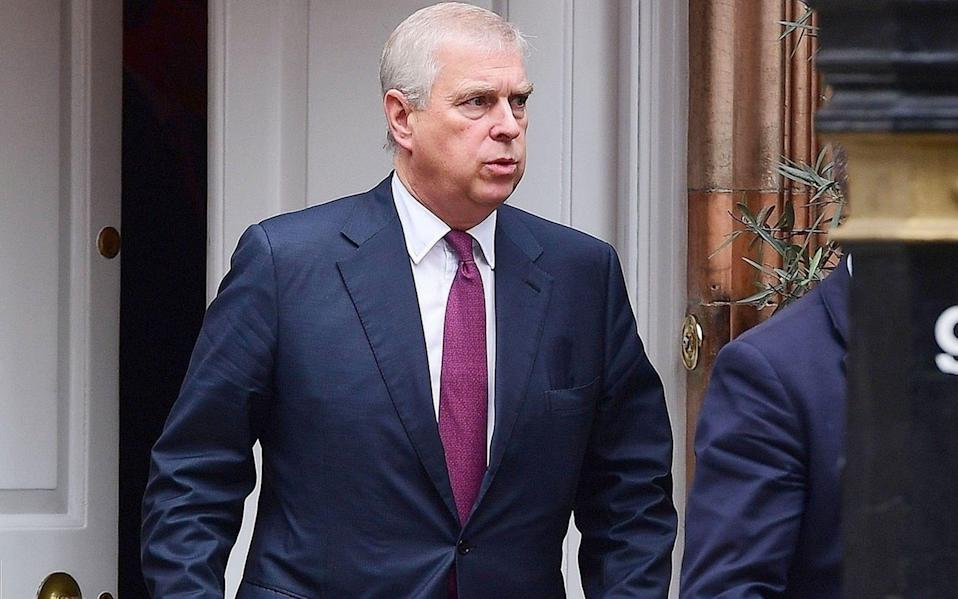 Prince Andrew is spotted leaving a lunch meeting at Harry's Bar Members Club, seconds apart from Johan Eliasch - DASA, CRHA