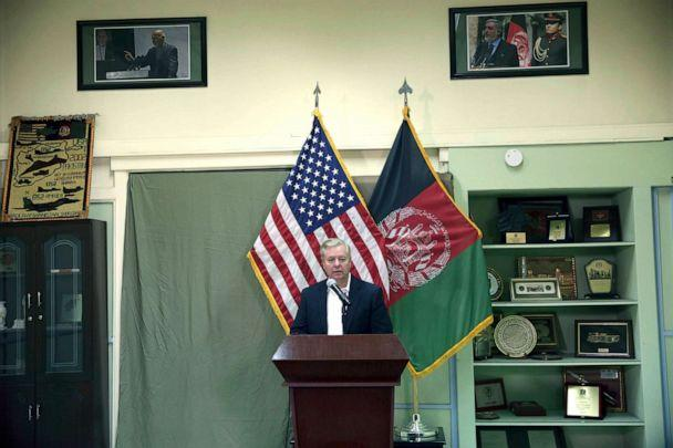 PHOTO: Senator Lindsey Graham speaks during a press conference at the Resolute Support headquarters in Kabul, Afghanistan, Dec. 16, 2019. (Rahmat Gul/AP)