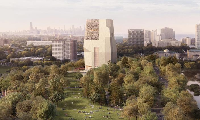 A digital rendering shows a north-facing view of the Obama Presidential Center campus in Jackson Park in Chicago. (The Obama Foundation)