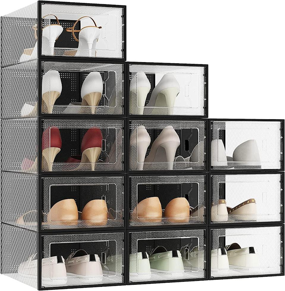 <p>Keep your shoes in pristine condition while organizing them with these <span>Clear Plastic Stackable Shoe Organizer (12 Pack)</span> ($47).</p>