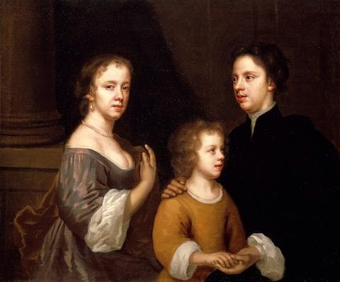 Mary Beale, Self-portrait of Mary Beale with her husband Charles and son Bartholomew, (c. 1660) - Credit: Geffrye Museum