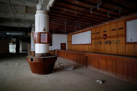A reception desk of the abandoned Alps Ski Resort is seen near the demilitarised zone separating the two Koreas in Goseong, South Korea, January 16, 2018. REUTERS/Kim Hong-Ji