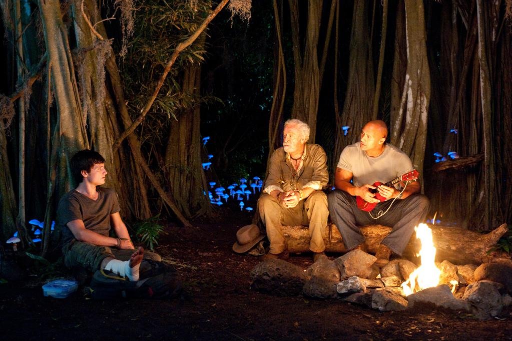 """Josh Hutcherson, Michael Caine and Dwayne Johnson in Warner Bros. Pictures' <a href=""""http://movies.yahoo.com/movie/journey-2-the-mysterious-island/"""">Journey 2: The Mysterious Island</a> - 2012"""
