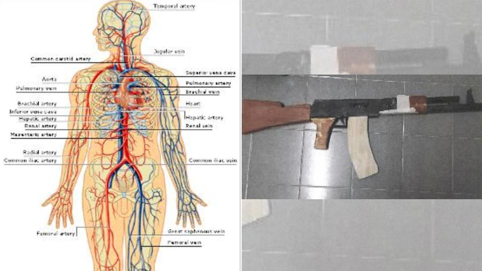 Amirull is said to have downloaded a chart (left) showing the human vascular system to help him plan where to stab his victims, and also made a replica AK-47 rifle (right) to practise with in prepartion for joining the AQB forces in Palestine. (PHOTOS: MHA)