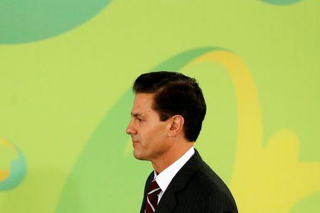 Mexico's President Enrique Pena Nieto is pictured after delivering his speech during a ceremony ahead of the Rio 2016 Olympic Games at Los Pinos presidential residence in Mexico City