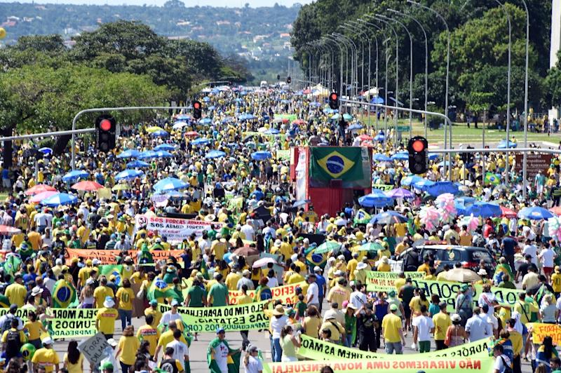 People take part in a protest against the government of Brazilian President Dilma Rousseff in Brasilia on April 12, 2015 (AFP Photo/Evaristo Sa)