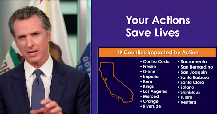 California Gov. Gavin Newsom announces new business restrictions in 19 counties, mostly pertaining to indoor activities. Officials will also close state beach parking facilities during the Fourth of July long weekend.
